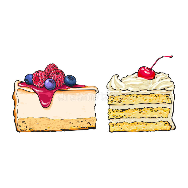 Übergeben Sie gezogene Nachtische - Stücke des Käsekuchens und des überlagerten Vanillekuchens lizenzfreie abbildung