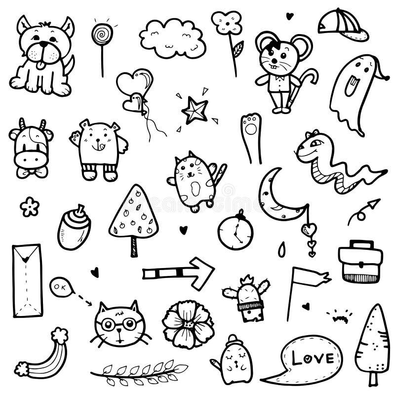 Übergeben Sie gezogene nette Gekritzelsammlungselement-Vektorillustration des Tieres, Baum, Pfeil, Gegenstände für Druckdesign od stockbild