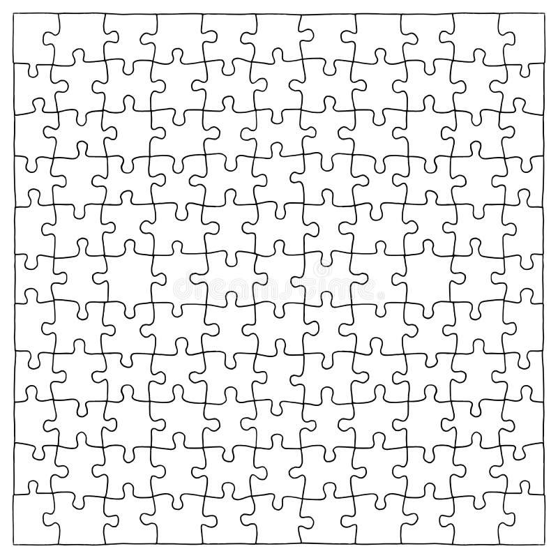 Übergeben Sie gezogene Puzzlestücke, 121 verschiedene Stücke, die extrahiert werden können stock abbildung