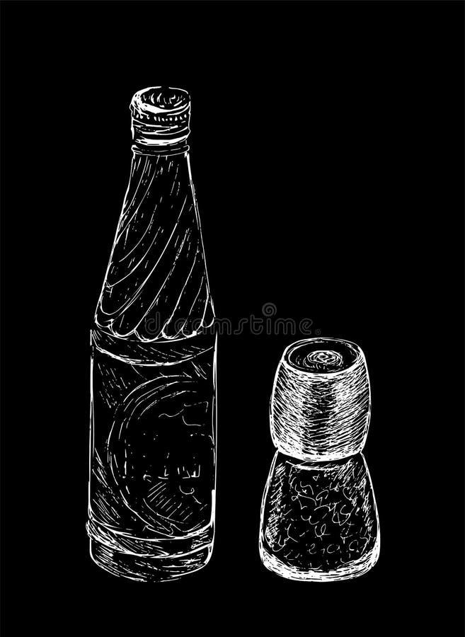 Übergeben Sie gezogene Salz- und Pfeffermühle, Schüttel-Apparat, Schleifer und Flasche Wasser Vektorskizzenillustration auf schwa vektor abbildung