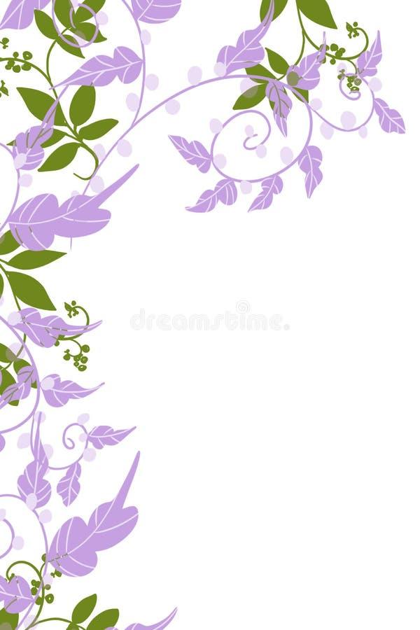 Übergeben Sie gezogene Seitengrenze von purpurroten und grünen Reben und von Blättern und von Reben lizenzfreie abbildung
