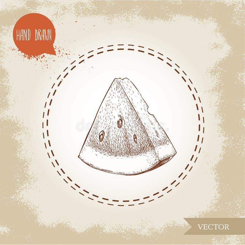 Übergeben Sie gezogene Skizzenartwassermelonendreieckscheiben-Vektorillustration stock abbildung