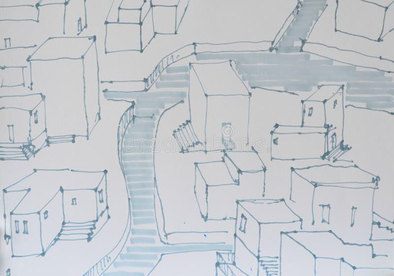 Übergeben Sie gezogene städtische Situation mit Fluss innerhalb des Fließens stockbilder