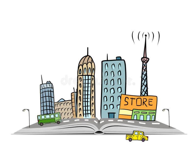 Übergeben Sie gezogene städtische Szene mit Gebäuden, Autos und einer Straße auf einem offenen Buch stock abbildung
