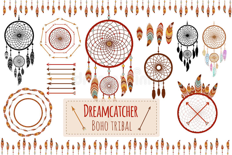 Übergeben Sie gezogene Stammes- Sammlung mit Pfeilen, Federn, dreamcatcher, Rahmen und Grenze, Florenelemente für Designlogo, die lizenzfreie abbildung