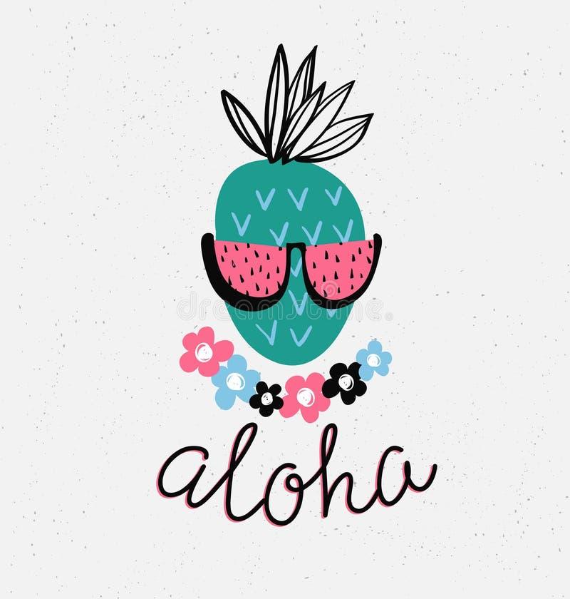 Übergeben Sie gezogene stilvolle Typografiebeschriftungsphrase auf dem Schmutzhintergrund - 'Aloha' und Ananas lizenzfreie abbildung