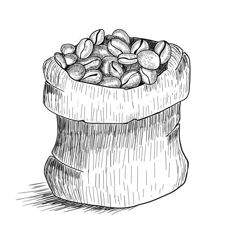 Übergeben Sie gezogene Tasche mit Kaffeebohnen auf weißem Hintergrund Linie Kunstart lizenzfreie abbildung