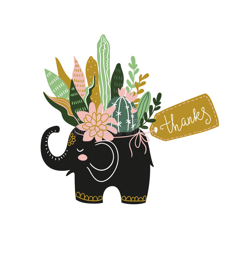 Übergeben Sie gezogene tropische Zimmerpflanzen und Blumen im keramischen Topf mit Tag - Dank Auch im corel abgehobenen Betrag stock abbildung