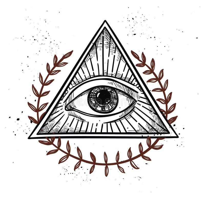 Übergeben Sie gezogene Vektorillustration - alles sehende Augenpyramidensymbol lizenzfreie abbildung