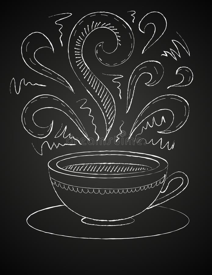 Zeichnung des Tasse Kaffees auf Tafel stock abbildung