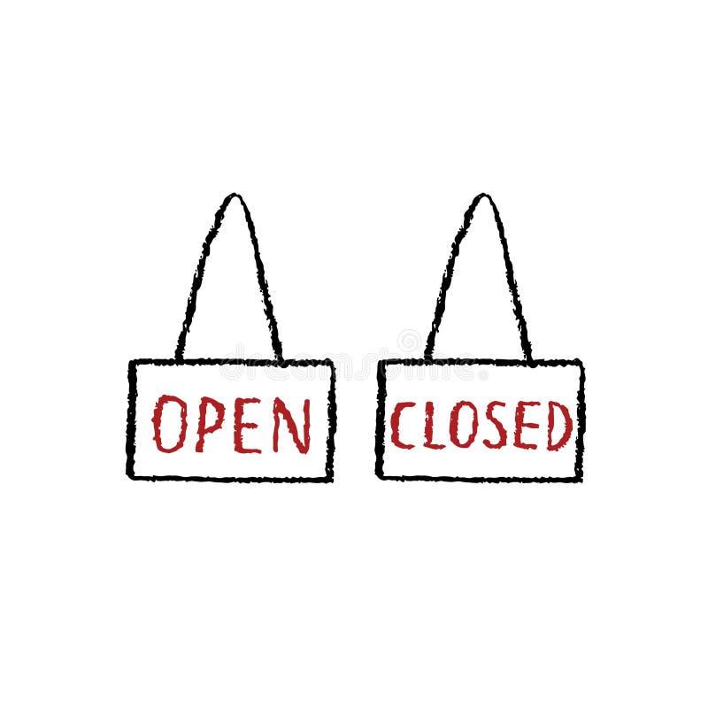 Übergeben Sie gezogene Vektorillustration des offenen, nahen Zeichens auf weißem Hintergrund stock abbildung
