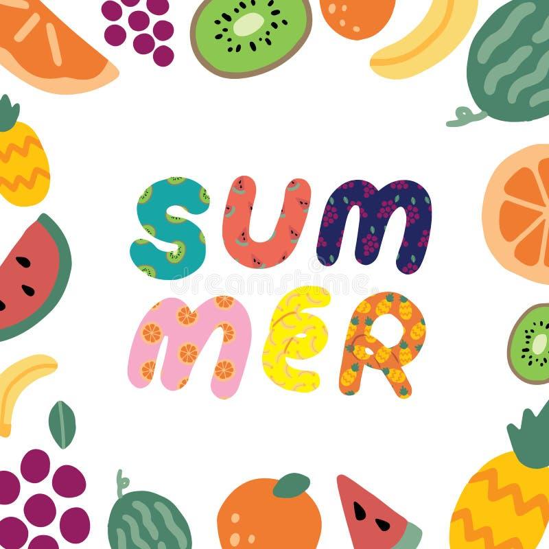 Übergeben Sie gezogene Vektorillustration des Sommertext- und -fruchtrahmens auf weißem Hintergrund Abstrakte Gekritzeltapete lizenzfreie abbildung
