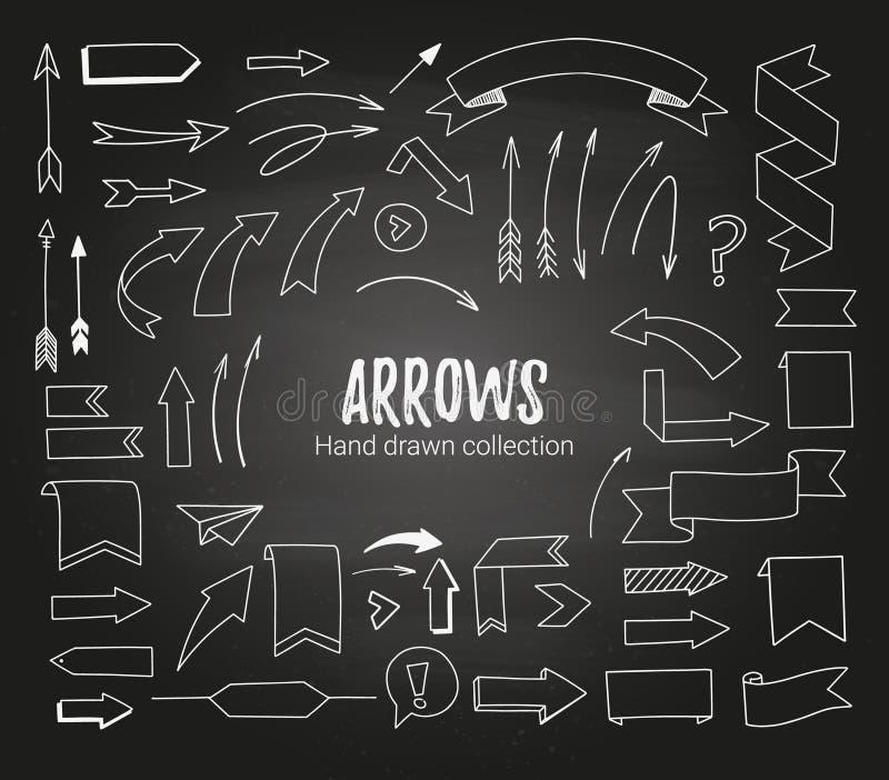 Übergeben Sie gezogene Vektorillustration - Pfeile, Bänder und Rollen SK stock abbildung