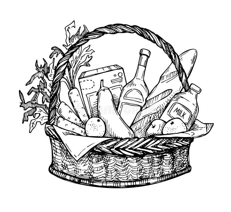 Übergeben Sie gezogene Vektorillustration - SupermarktEinkaufskorb lizenzfreie abbildung