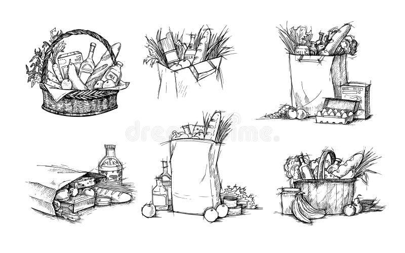 Übergeben Sie gezogene Vektorillustrationen - Einkaufstaschen mit gesundem Lebensmittel stock abbildung