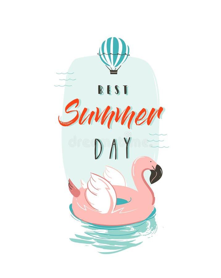 Übergeben Sie gezogene Vektorzusammenfassungs-Sommerzeit-Spaßillustration mit rosa Flamingobojenring in den Pastellfarben und mod vektor abbildung