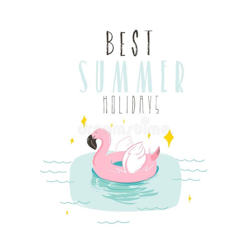 Übergeben Sie gezogene Vektorzusammenfassungs-Sommerzeit-Spaßillustration mit rosa Flamingobojenring in den Pastellfarben und mod lizenzfreie abbildung
