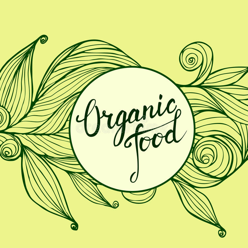 Übergeben Sie gezogene Verzierung und ursprüngliches Handbeschriftung biologisches Lebensmittel vektor abbildung