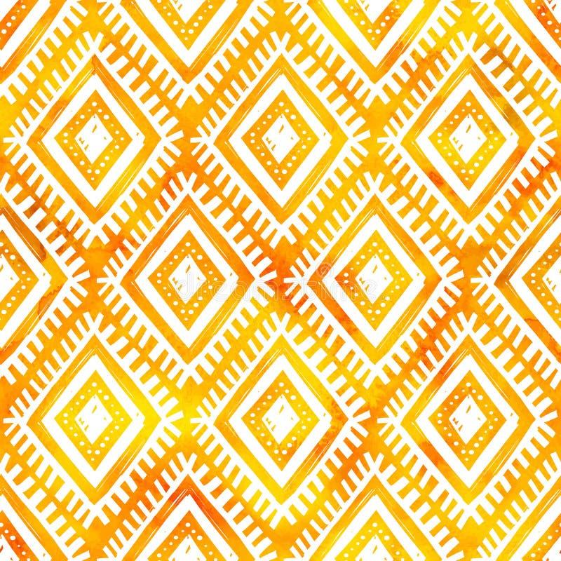 Übergeben Sie gezogene weiße Verzierung auf orange Aquarell, nahtloses Muster des Vektors stock abbildung