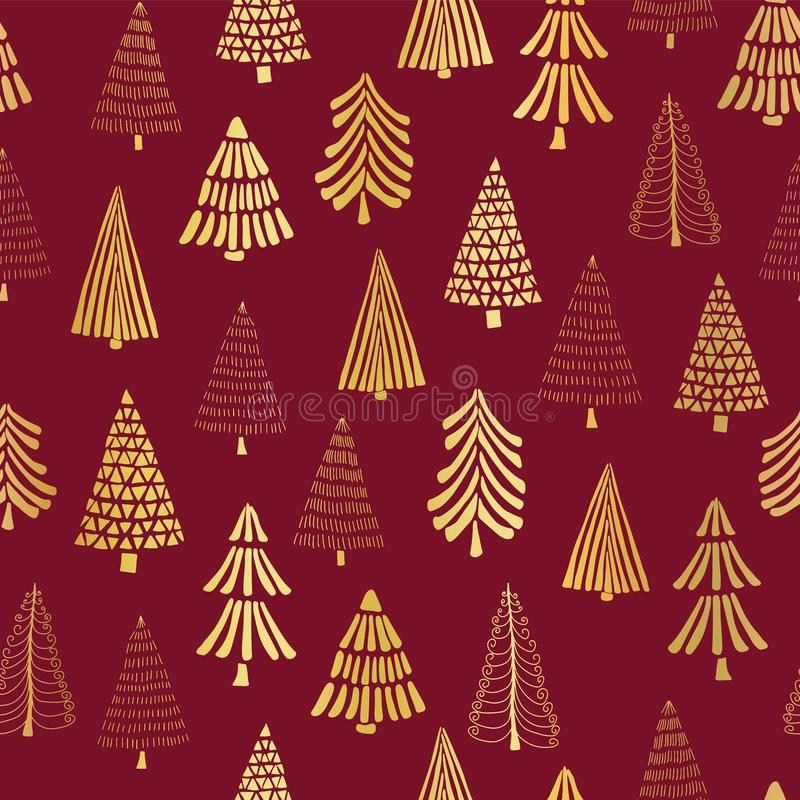 Übergeben Sie gezogene Weihnachtsbaum-Goldfolie auf rotem nahtlosem Vektormusterhintergrund Metallische glänzende goldene Bäume E lizenzfreie abbildung