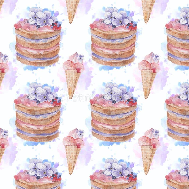 Übergeben Sie gezogenem Aquarell nahtloses Muster mit leckerer Eiscreme und Kuchen stockfotografie