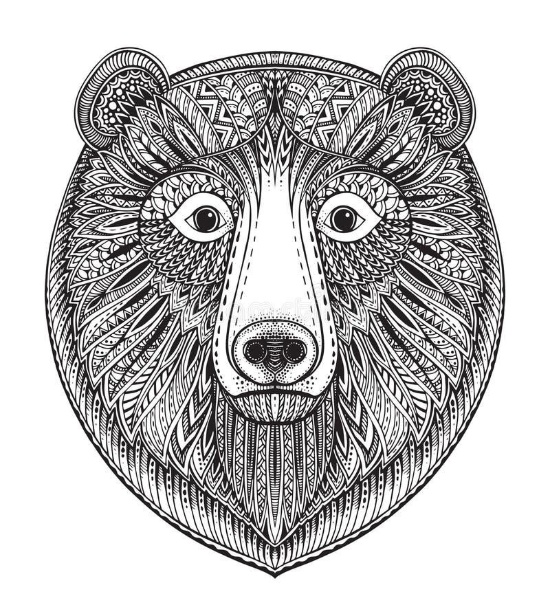 Übergeben Sie gezogenem aufwändigem Gekritzel grafisches Schwarzweiss-Bärngesicht lizenzfreie abbildung