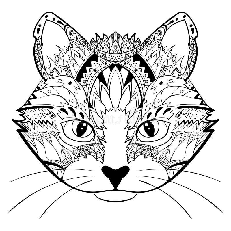 Übergeben Sie gezogenem aufwändigem Gekritzel grafisches Schwarzweiss-Katzengesicht Vektorillustration für T-Shirts entwerfen, tä lizenzfreie abbildung