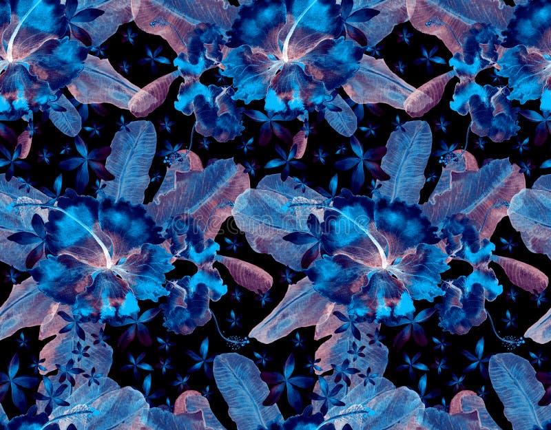 Übergeben Sie gezogenem nahtlosem Aquarell tropisches Muster mit Palmblättern, monstera Blättern und Hibiscusblumen auf abgestrei lizenzfreie abbildung