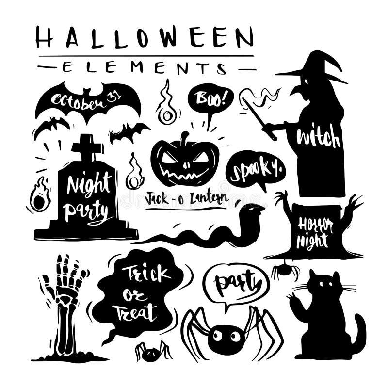 Übergeben Sie gezogenem Schattenbild glückliches Halloween- und Sammlungselementse lizenzfreie abbildung