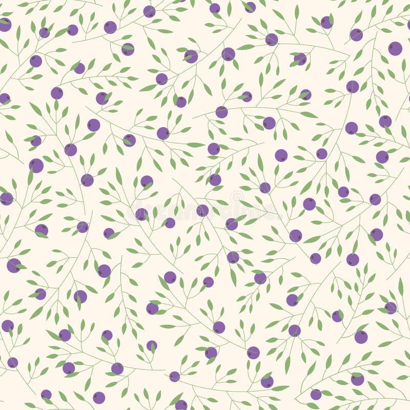 Übergeben Sie gezogenem Vektor Blumenmuster mit Niederlassungen, Blättern und Blaubeeren lizenzfreie abbildung