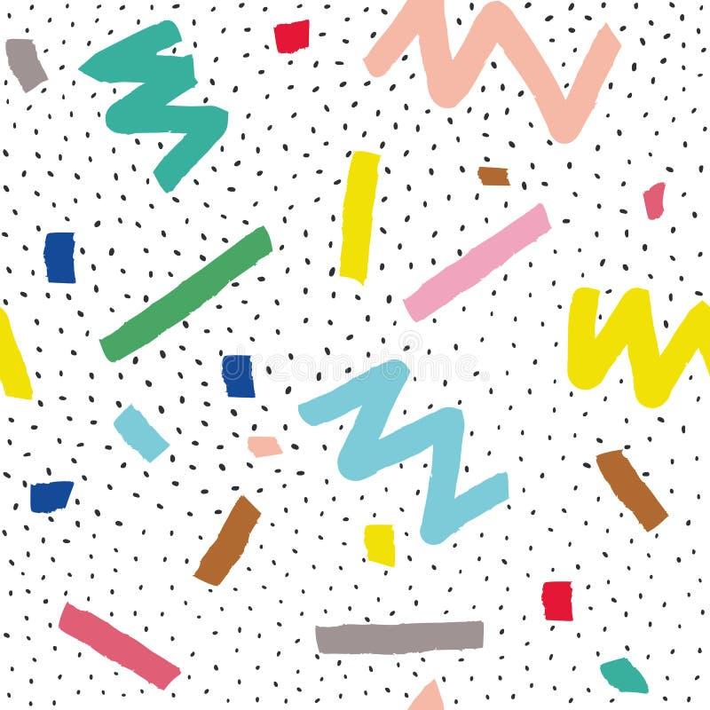 Übergeben Sie gezogenem Vektor nahtloses Muster in Memphis-Art mit bunten Streifen, Zickzack und Klecksen auf weißem Hintergrund lizenzfreie abbildung