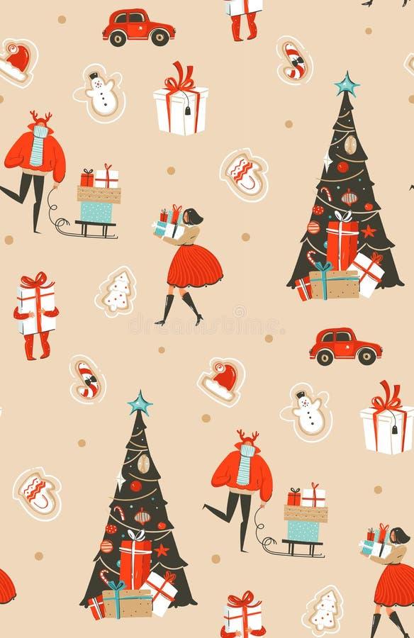 Übergeben Sie gezogenem Vektorzusammenfassungsspaß Zeitkarikatur der frohen Weihnachten stock abbildung