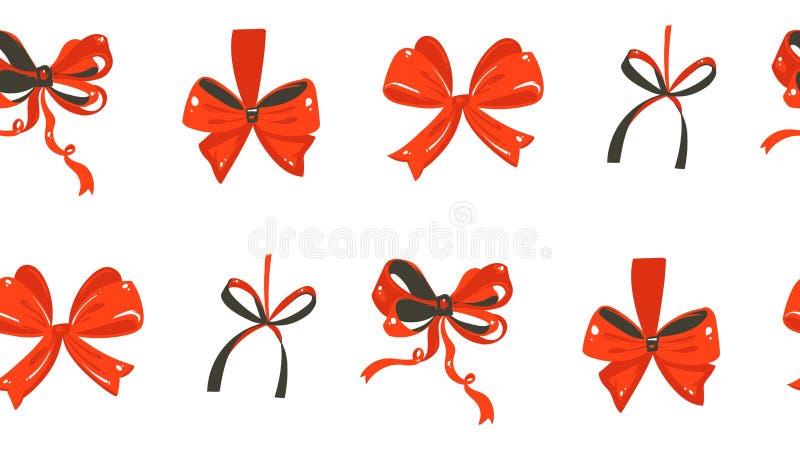Übergeben Sie gezogenem Vektorzusammenfassungsspaß Zeitkarikatur der frohen Weihnachten rustikales festliches nahtloses Muster mi stock abbildung