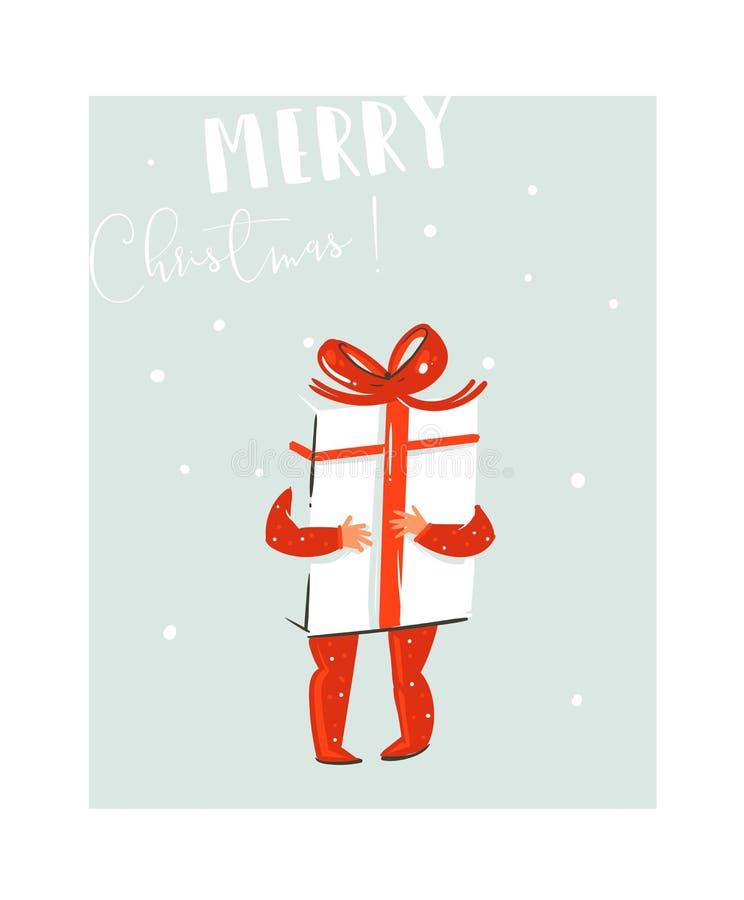 Übergeben Sie gezogenem Vektorzusammenfassungsspaß Zeitkarikaturillustration der frohen Weihnachten mit Babykind, das, große Über lizenzfreie abbildung