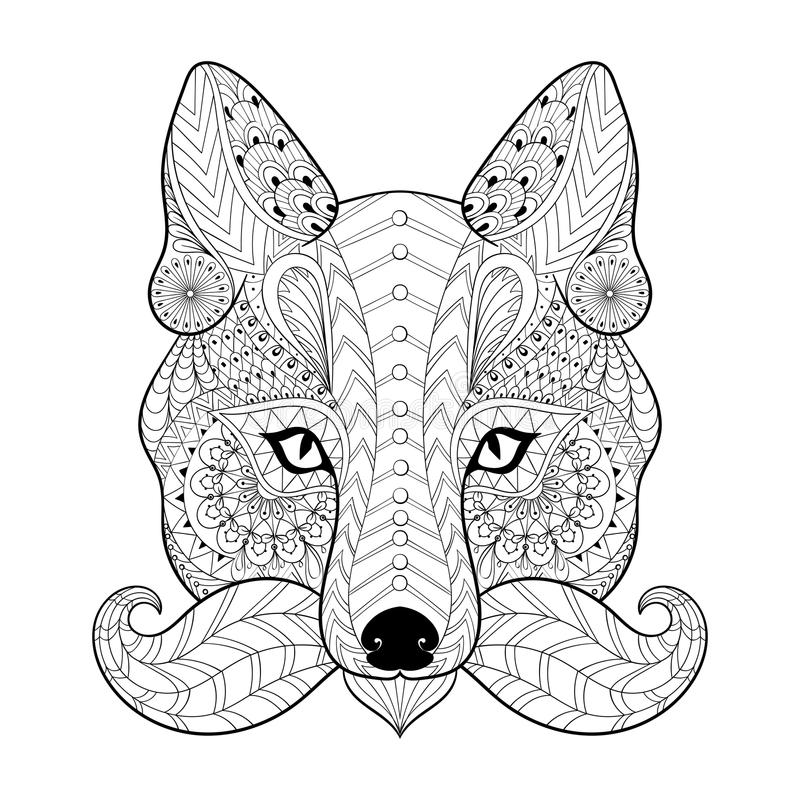 Übergeben Sie gezogenem zentangle Stammes- Fox-Gesicht für erwachsene Antidruckfarbe stock abbildung