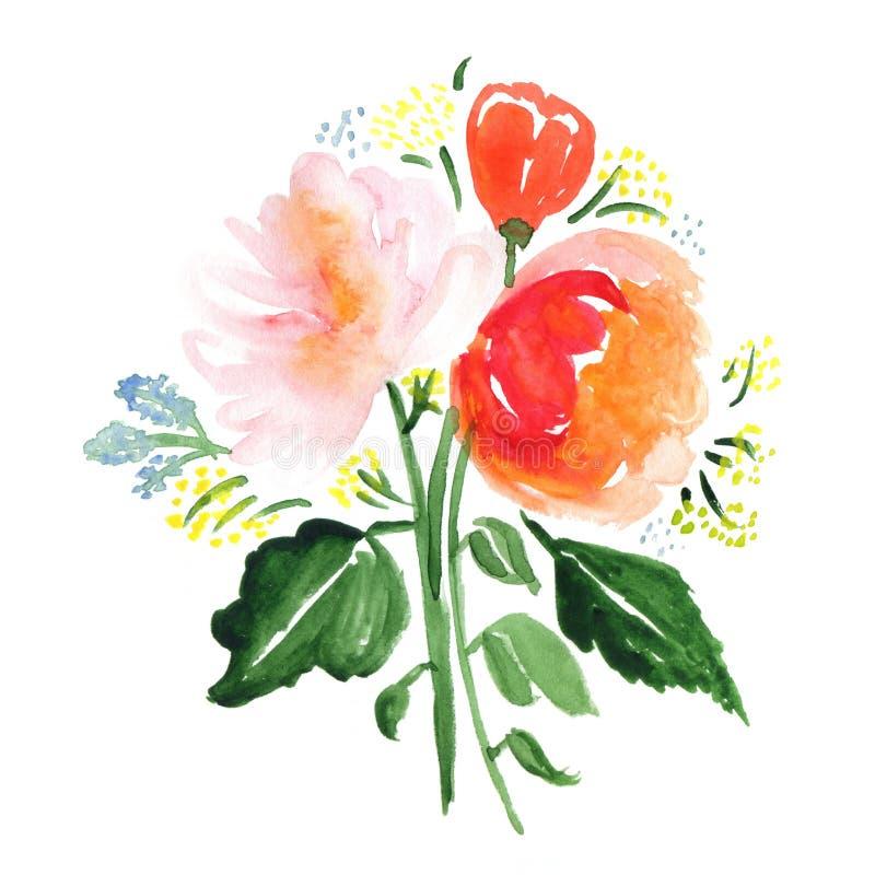 Übergeben Sie gezogenen Aquarellblumenstrauß mit Rosen, Blättern und abstrakten Blumen vektor abbildung