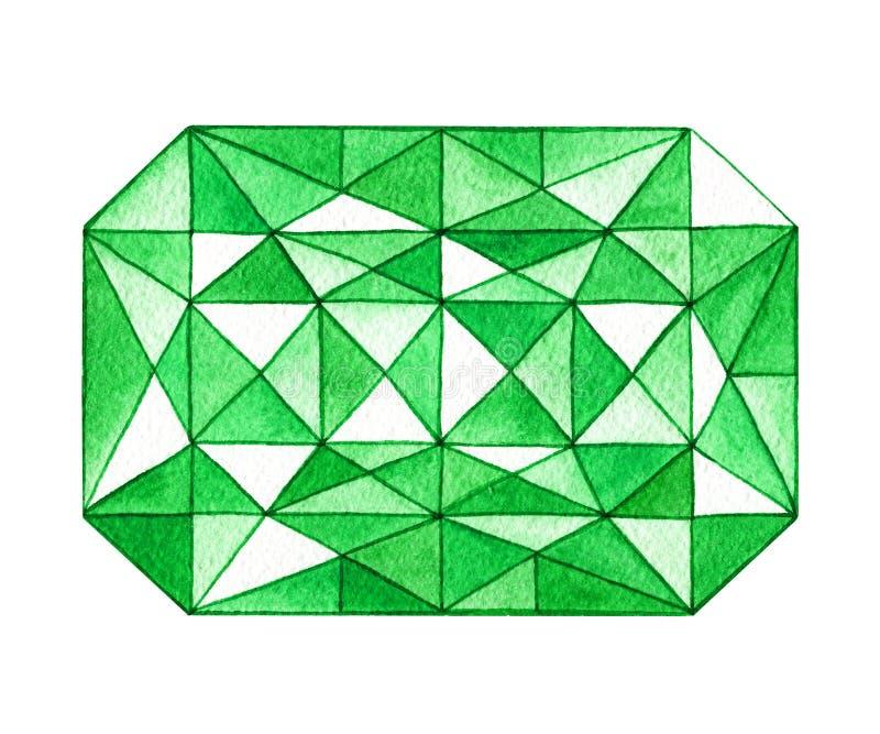 Übergeben Sie gezogenen Aquarellgrünedelstein in der rechteckigen Form stock abbildung