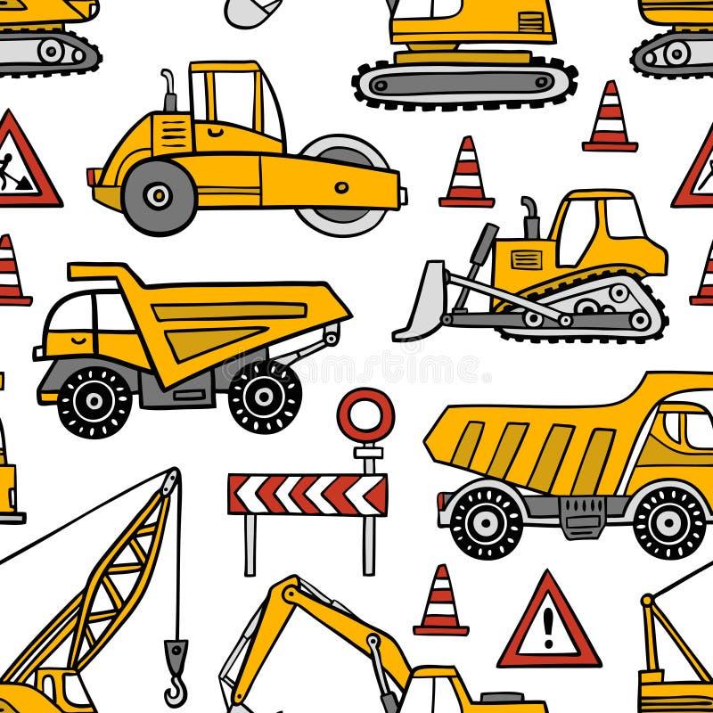 Übergeben Sie gezogenen Bauautos nahtloses Vektormuster auf weißem Hintergrund stock abbildung