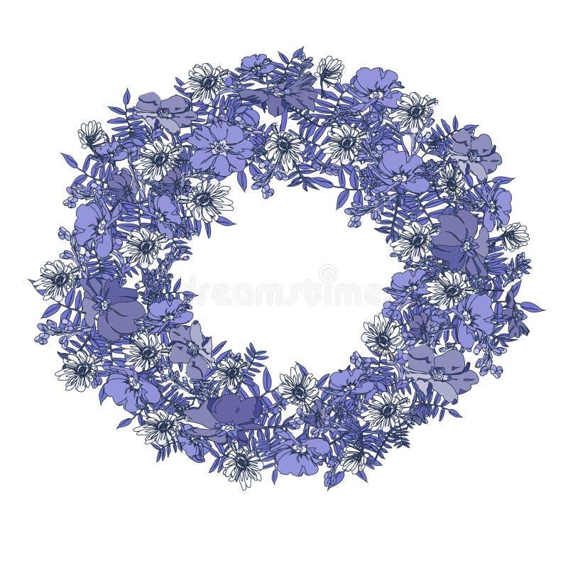 Übergeben Sie gezogenen eleganten und romantischen grafischen Blumenkranz des Sommers in den blauen Farben stockfotografie