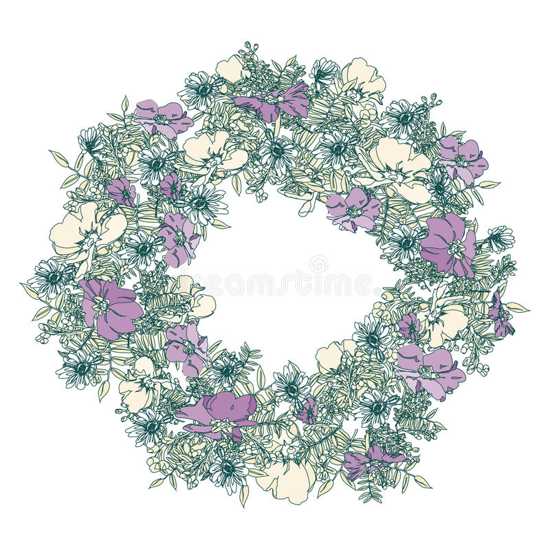 Übergeben Sie gezogenen eleganten und romantischen grafischen Blumenrahmen mit stilisierter Primel stockfotos