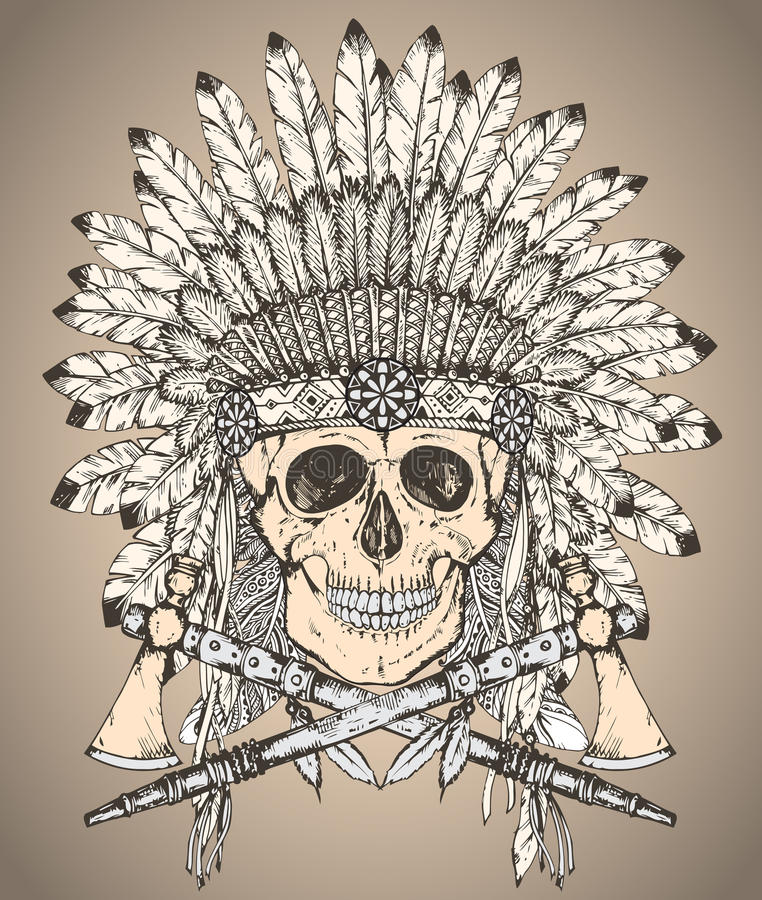 Übergeben Sie gezogenen gebürtigen indianischen Kopfschmuck mit dem menschlichen Schädel und stock abbildung