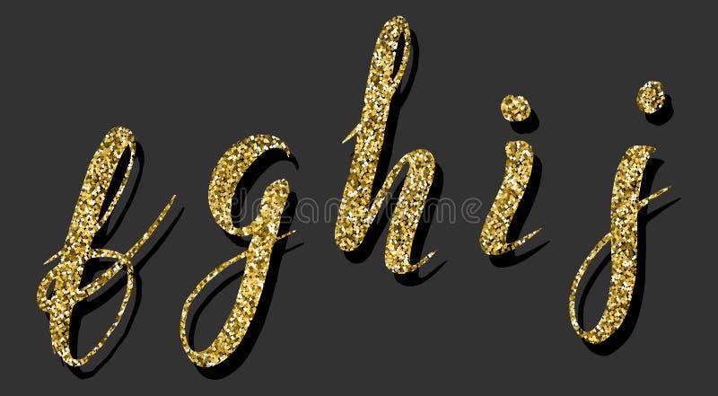 Übergeben Sie gezogenen Guss durch einen Bürstenstift, Aquarellalphabet mit goldener Funkelnfülle, fghij stock abbildung