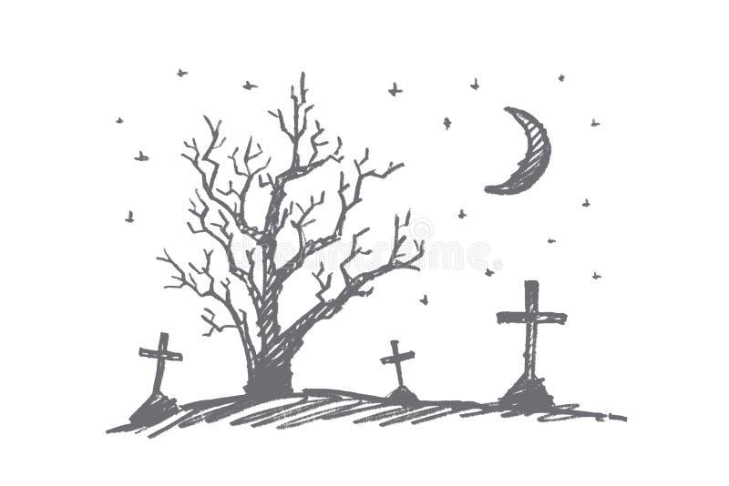 Übergeben Sie gezogenen Halloween-Kirchhof, trockenes Holz und Mond stock abbildung