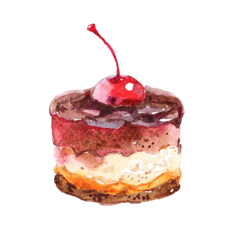 Übergeben Sie gezogenen kleinen Kuchen mit Kirsche und Schokolade, die Aquarellillustration, lokalisiert auf weißem Hintergrund lizenzfreie abbildung