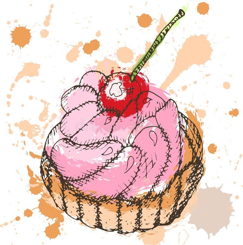 Übergeben Sie gezogenen kleinen Kuchen mit Schlagsahne und Kirsche, mehrfarbige Flecke und Sprays vektor abbildung