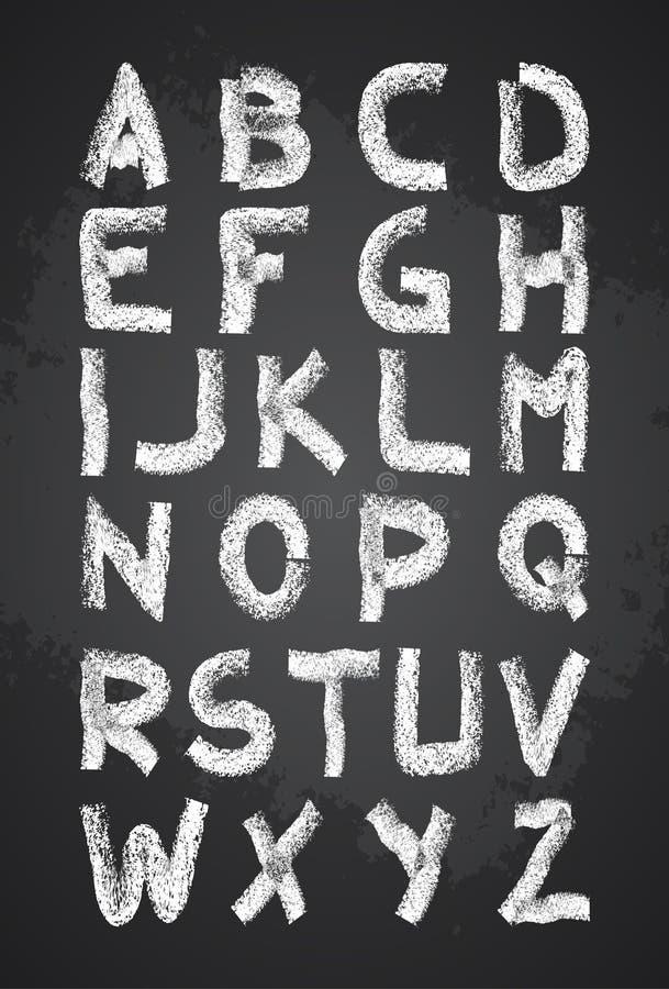 Übergeben Sie gezogenen Kreidealphabetvektor, Großbuchstaben, zurück zu Schulkreideguß lizenzfreie abbildung