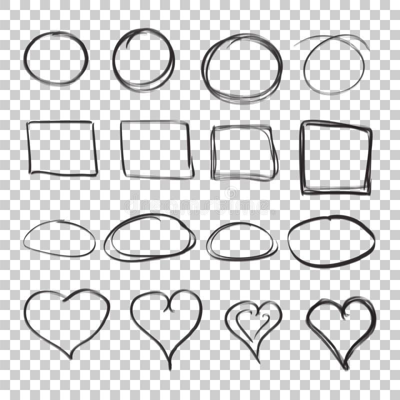 Übergeben Sie gezogenen Kreis-, Quadrat- und Herzikonensatz Sammlung von p vektor abbildung