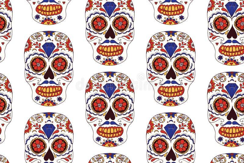Übergeben Sie gezogenen mexikanischen Tag des toten nahtlosen Musters Bunter Schädel des Vektors Zucker lizenzfreie abbildung