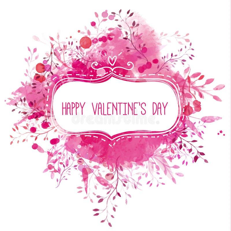 Download Übergeben Sie Gezogenen Rahmen Mit Text Glücklichem Valentinstag  An Der Rosa Aquarellbeschaffenheit Mit Aufwändigen Niederlassung