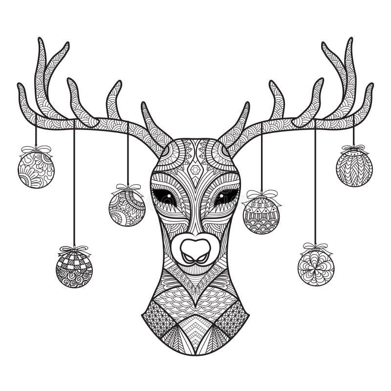 Übergeben Sie gezogenen Rotwildkopf mit den Weihnachtsbällen, die an seinem Horn, für Malbuch, Weihnachtskarte, Dekoration hängen vektor abbildung